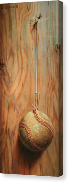 The Hanging Baseball Canvas Print