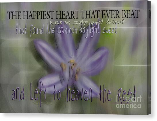 The Happiest Heart That Ever Beat Canvas Print