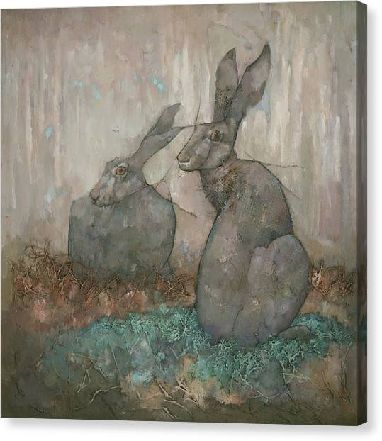 Canvas Print featuring the painting The Hare's Den by Steve Mitchell