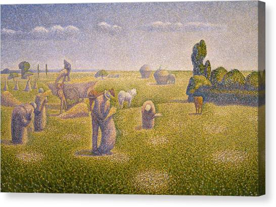 Divisionism Canvas Print - The Harvesters by Charles Angrand