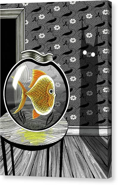 Goldfish Canvas Print - The Haunted Goldfish Bowl  by Andrew Hitchen