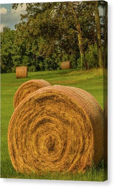 Canvas Print featuring the photograph The Hay Bales by Barry Jones