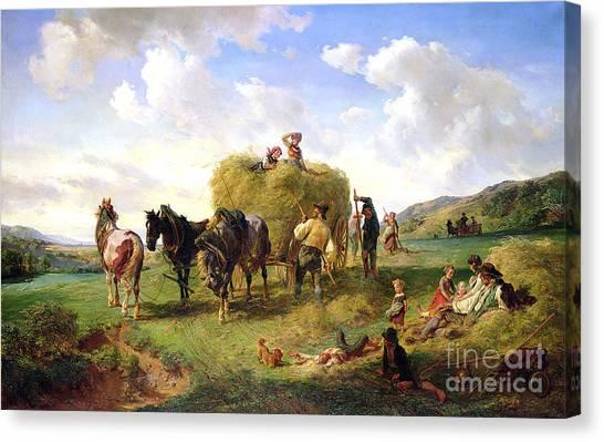 Carts Canvas Print - The Hay Harvest by Hermann Kauffmann