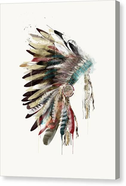 Native Canvas Print - The Headdress by Bri Buckley