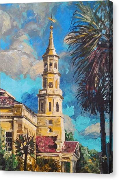 Canvas Print featuring the painting The Heart Of Charleston by Jennifer Hotai