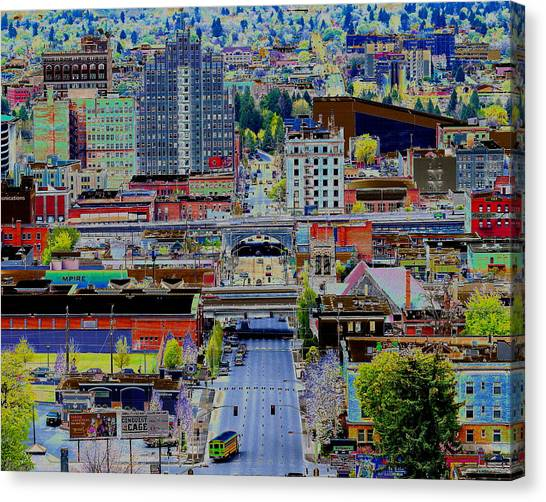 Canvas Print featuring the photograph The Heart Of Downtown Spokane  by Ben Upham III