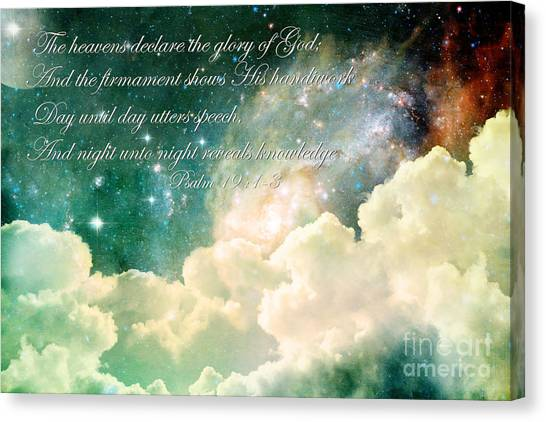 Bible Verses Canvas Print - The Heavens Declare by Stephanie Frey