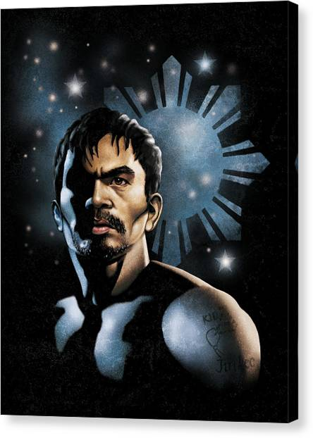 Manny Pacquiao Canvas Print - The Heavens Shine On Pacquiao by Elvin Dantes