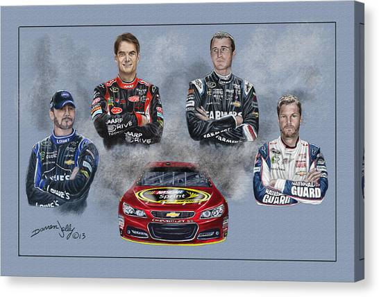Dale Earnhardt Jr Canvas Print - The Hendrick Team by Darren Jolly