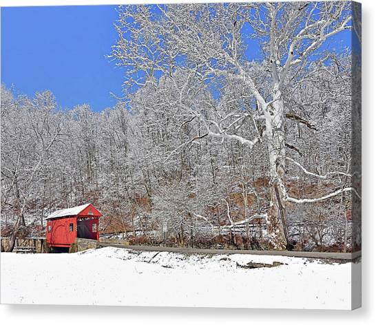 Canvas Print featuring the photograph The Henry Bridge After A Late Winter Snow by Digital Photographic Arts