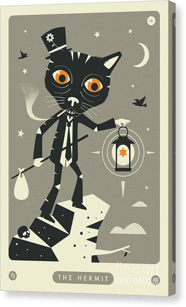The Hermit Tarot Card Cat  Canvas Print by Jazzberry Blue