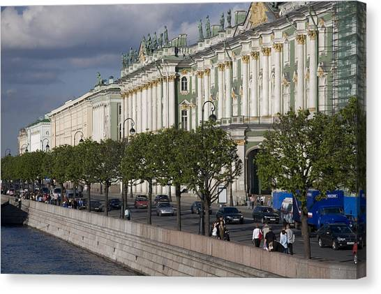 State Hermitage Canvas Print - The Hermitage Museum Sits On The Banks by Taylor S. Kennedy