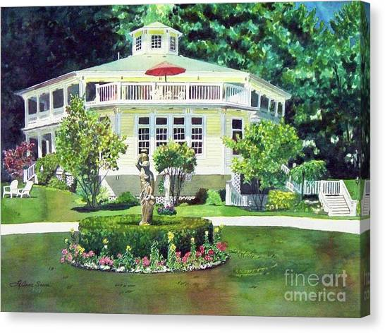 The Hexagon House, Bed And Breakfast, House Painting Canvas Print