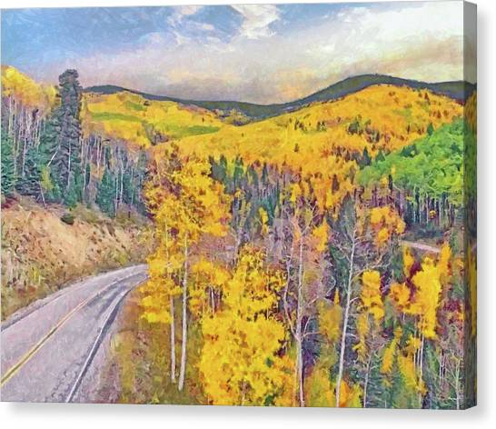 Canvas Print featuring the digital art The High Road To Taos by Digital Photographic Arts