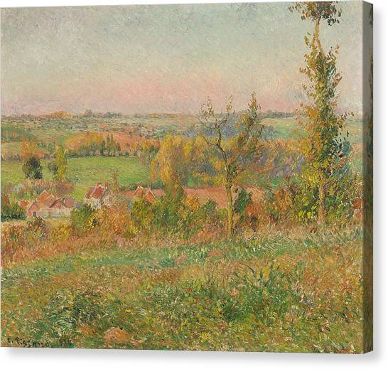 Camille Canvas Print - The Hills Of Thierceville Seen From The Country Lane by Camille Pissarro