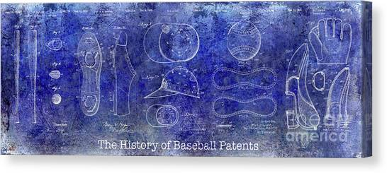 Babe Ruth Canvas Print - The History Of Baseball Patents Blue by Jon Neidert