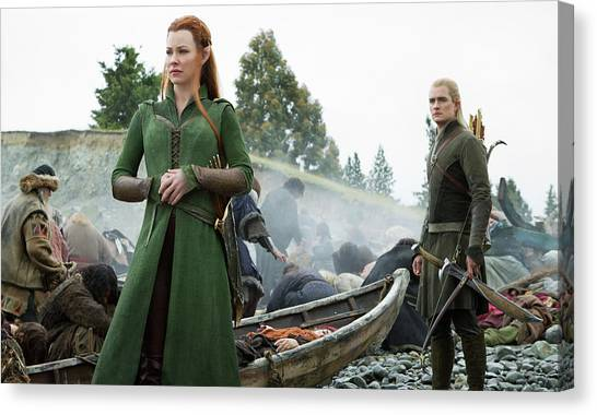 Orlando Bloom Canvas Print - The Hobbit The Battle Of The Five Armies Evangeline Lilly Orlando Bloom by Naveen Sharma