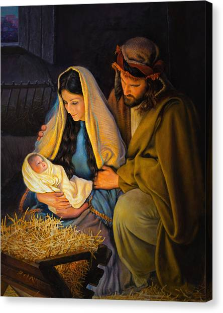 Mary Canvas Print - The Holy Family by Greg Olsen