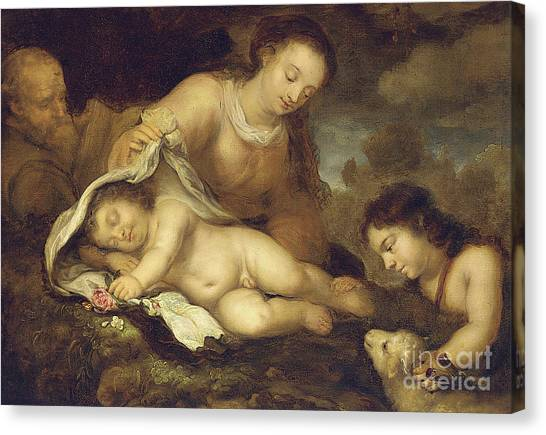 Nude Mom Canvas Print - The Holy Family With Infant Saint John The Baptist by Jurgen Ovens