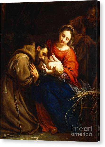 Saints Canvas Print - The Holy Family With Saint Francis by Jacob van Oost