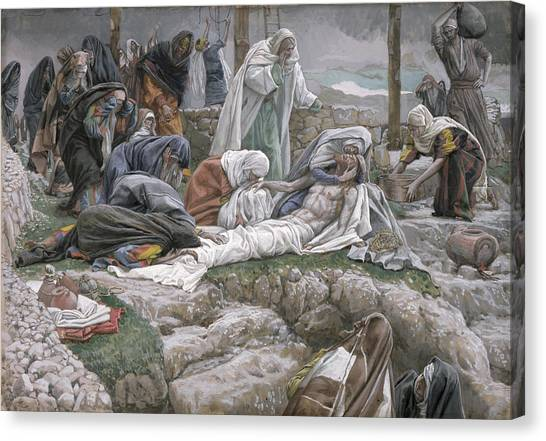 Shrouds Canvas Print - The Holy Virgin Receives The Body Of Jesus by Tissot