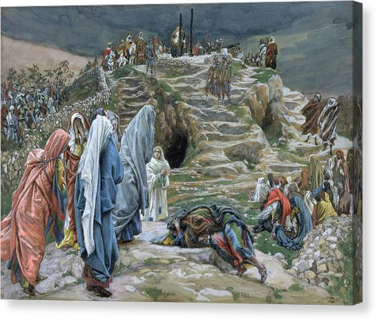 Crucify Canvas Print - The Holy Women Stand Far Off Beholding What Is Done by James Jacques Joseph Tissot
