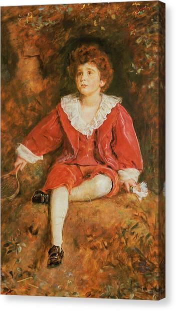 Tennis Racquet Canvas Print - The Honorable John Neville Manners by John Everett Millais