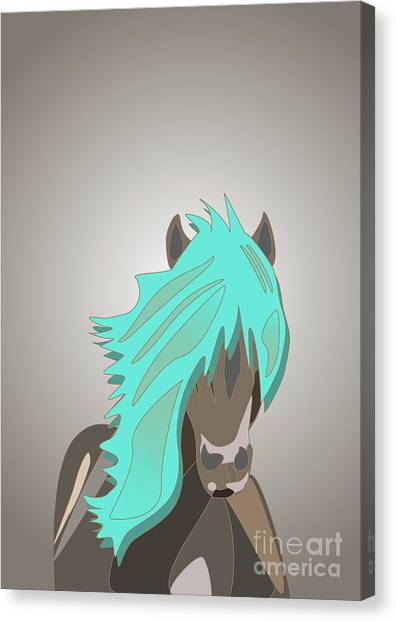 The Horse With The Turquoise Mane Canvas Print