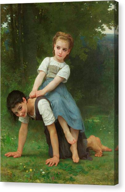 Academic Art Canvas Print - The Horseback Ride by Adolphe William Bouguereau