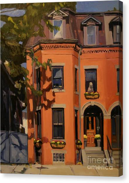 Brownstone Canvas Print - The House Sitter by Deb Putnam