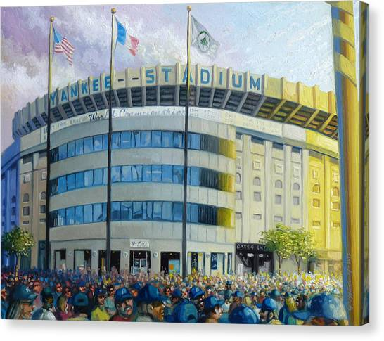 Yankee Stadium Canvas Print - The House That Steinbrenner Wrecked Opening Day  by Gregg Hinlicky