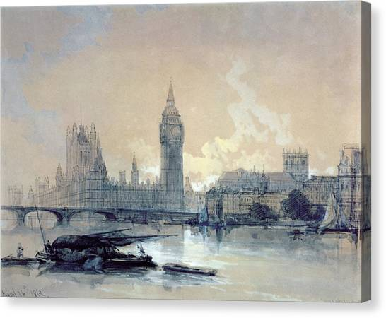 Parliament Canvas Print - The Houses Of Parliament by David Roberts