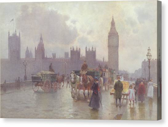 Tower Bridge London Canvas Print - The Houses Of Parliament From Westminster Bridge by Alberto Pisa