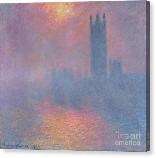 London Canvas Print - The Houses Of Parliament London by Claude Monet