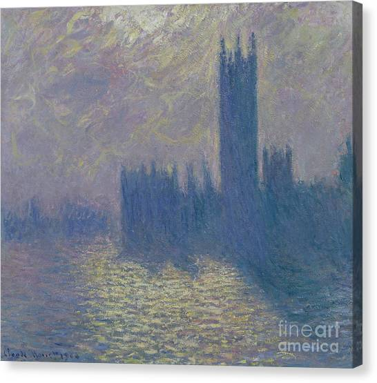 Parliament Canvas Print - The Houses Of Parliament Stormy Sky by Claude Monet