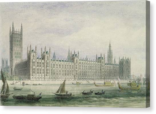 Palace Of Westminster Canvas Print - The Houses Of Parliament by Thomas Hosmer Shepherd