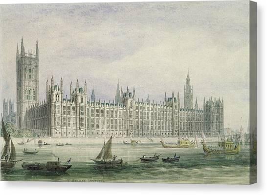 Parliament Canvas Print - The Houses Of Parliament by Thomas Hosmer Shepherd