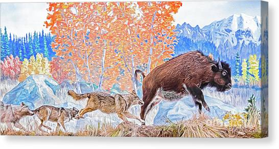 Canvas Print featuring the digital art The Hunt by Ray Shiu