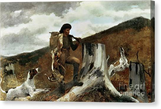 Woodsmen Canvas Print - The Hunter And His Dogs by Winslow Homer