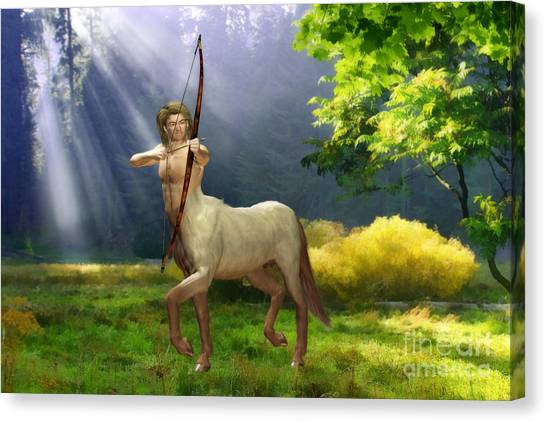 Centaurs Canvas Print - The Hunter by John Edwards