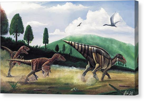 The Hunters - Balaur Bondoc And Telmatosaurus Transylvannicus Canvas Print by Mihai Dumbrava