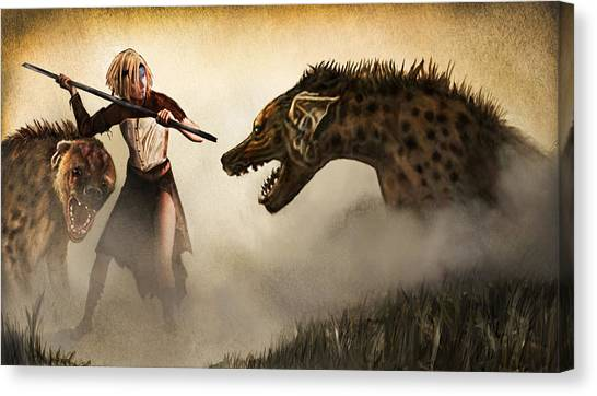 Barbarian Canvas Print - The Hyaenodons - Allie's Battle by Mandem