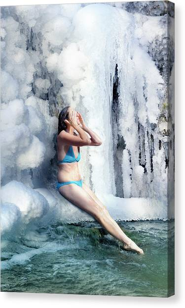 Fantasy Cave Canvas Print - The Ice Shower by Jean Gill