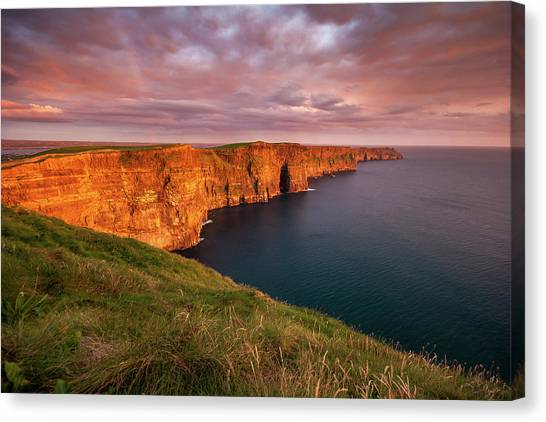 The Cliffs Of Moher Canvas Print - The Iconic Cliffs Of Moher At Sunset On The West Coast Of Ireland by Pierre Leclerc Photography