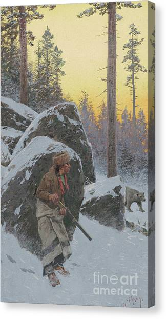 Woodsmen Canvas Print - The Indian Bear Hunter, 1911 by Henry Francois Farny