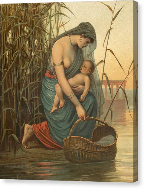 Nude Mom Canvas Print - The Infant Moses And His Mother by Philip Richard Morris