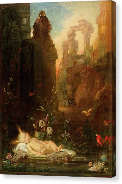 The Nile Canvas Print - The Infant Moses by Gustave Moreau