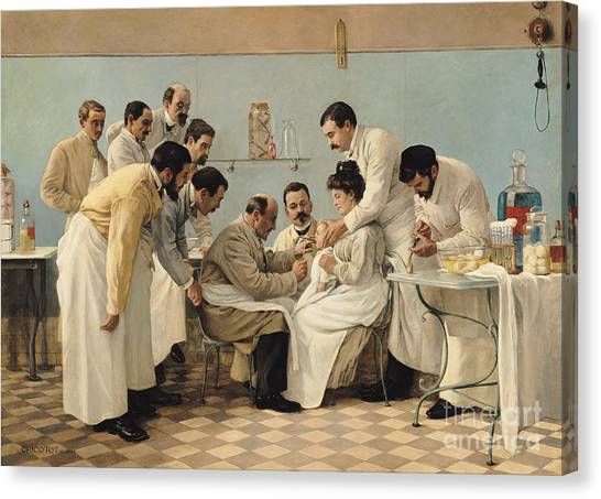 Health Care Canvas Print - The Insertion Of A Tube by Georges Chicotot