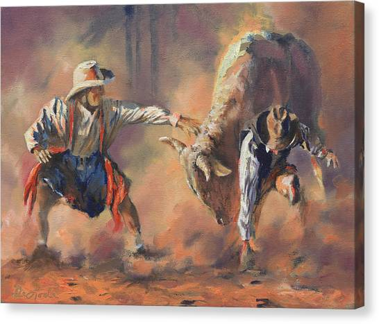 Rodeo Clown Canvas Print - The Insurance Man by Mia DeLode