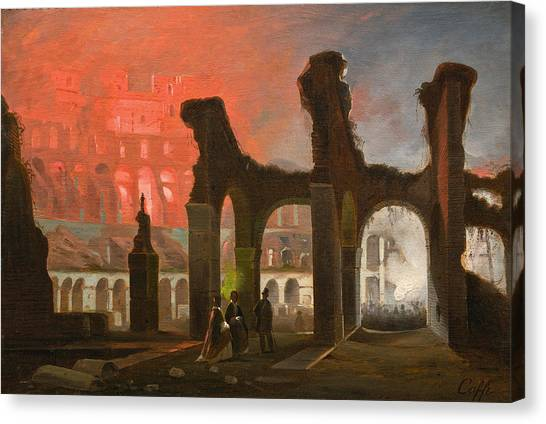 The Colosseum Canvas Print - The Interior Of The Colosseum Illuminated By Fireworks by Ippolito Caffi